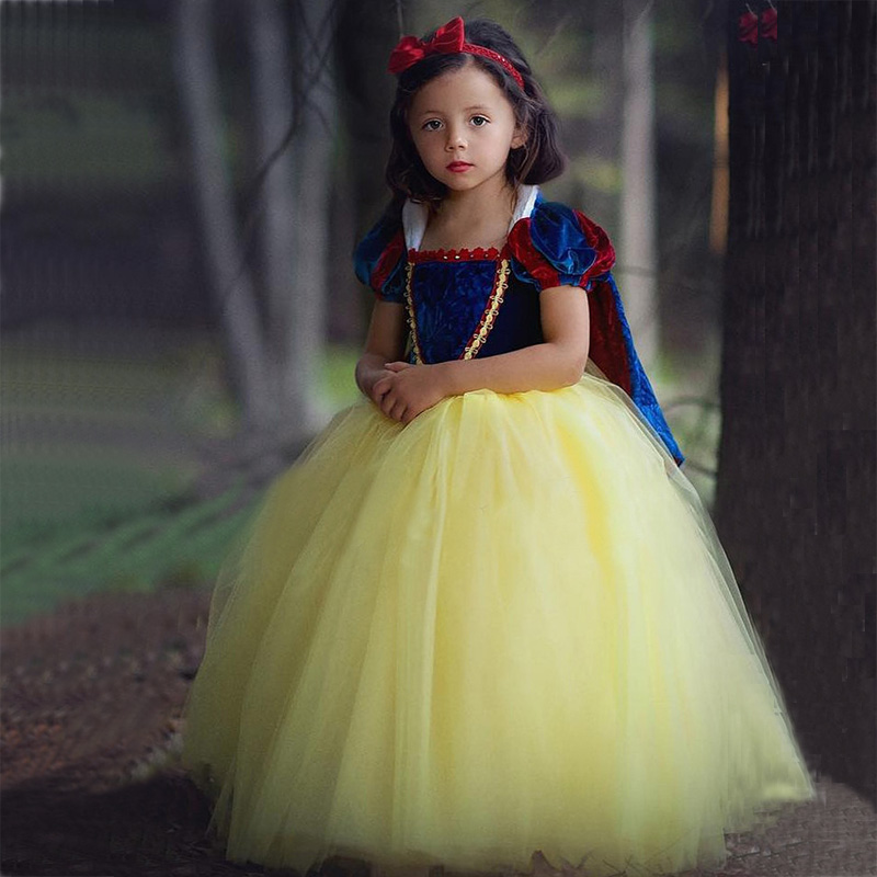 2019 Kids Girl Princess Snow White Cosplay Costume Dress Children Girl Party Dress With Oversleeves+Cloak  WG187 girl