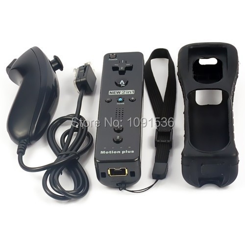 Nunchuck Motion Plus Remote Controller Set with Silicon Case&Wrist Strap for Nintendo Wii, Wii Black
