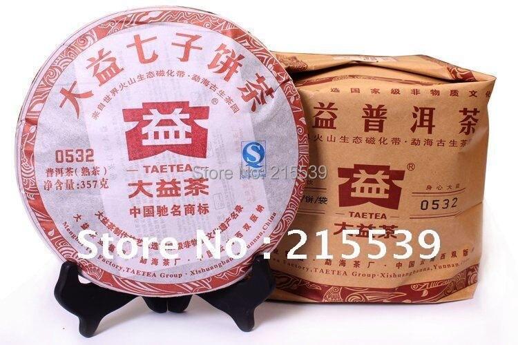 [GRANDNESS] 357g*2pcs, 2012 yr Yunnan Menghai Dayi (Taetea) 0532 Puer Ripe Pu'er cake ,Qi Zhi Bing Cooked Puerh Tea dayi