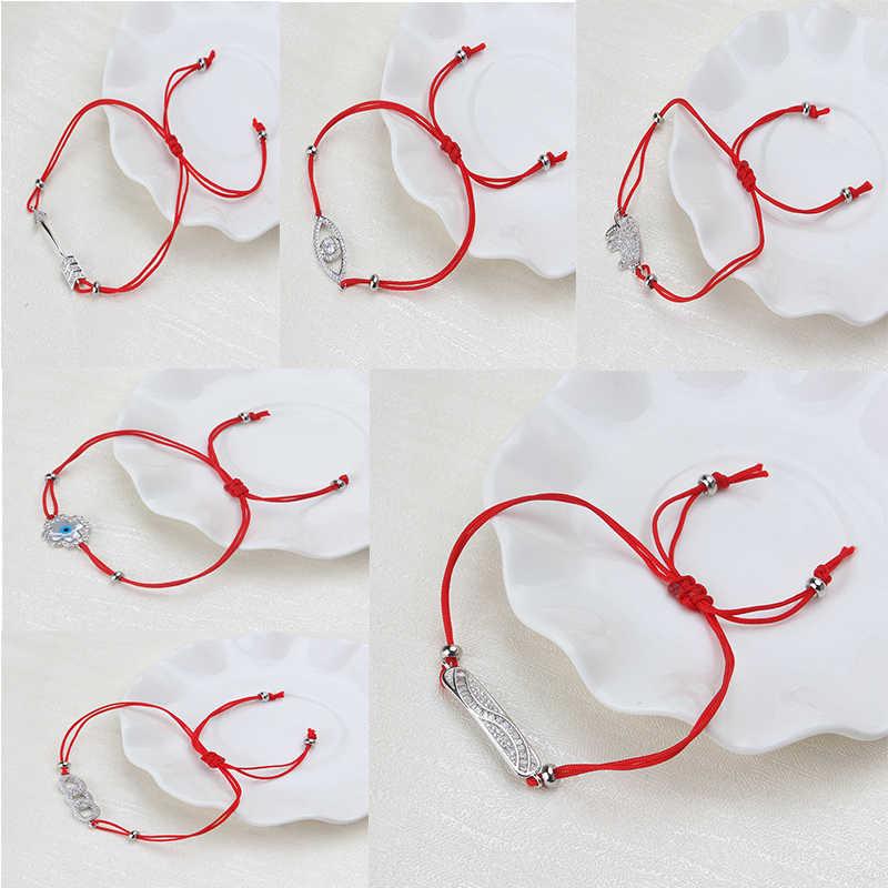 邪眼天使の羽アンカー矢印銘板男性女性のチャームブレスレット赤ロープ弦糸編組チャームブレスレットギフト