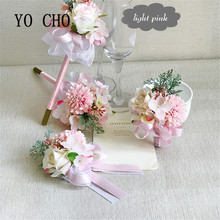 YO CHO Wedding Prom Wrist Corsage Bracelet BroocheHand Witness Boutonniere Groom Bridesmaid Groomsmen Flowers