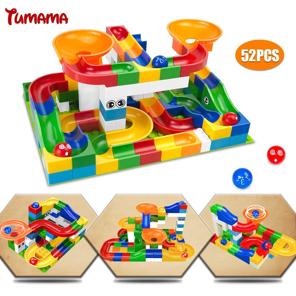 52 piezas construcción Marble Race Run Maze Balls Track Building Blocks tamaño grande ladrillos educativos Compatible con Legoed Duploed