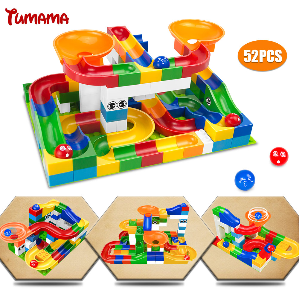 52Pcs Construction Marble Race Run Maze Balls Track Building Blocks Big Size Educational Bricks Compatible with