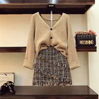 2018 Autumn Winter Womans V necked Cardigan Knitted Coat + High waisted Tweed Skirt Two Piece Girl Ladies Skirts Set Outfits
