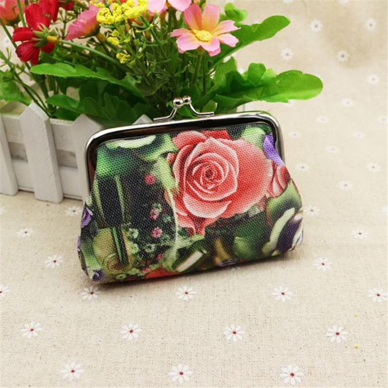 Best price New Fashion Women Lady Coin Bag Retro Vintage Rose Flower Wallet Hasp women's purse Clutch Bag Gift carteras mujer