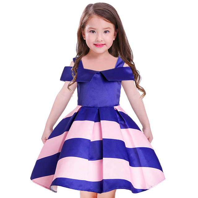 f3255e718 2018 girls dresses Baby Girl Princess Dress Kids stripe Dresses for ...