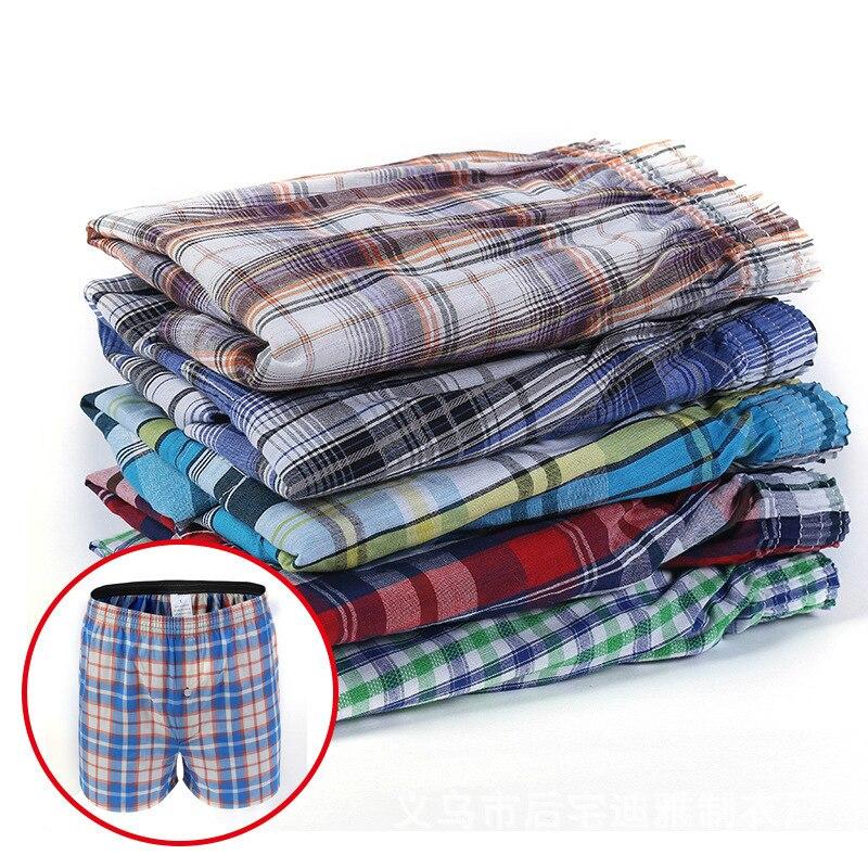 Mens Underwear Boxers Shorts Casual Cotton Sleep Underpants Quality Plaid Loose Comfortable Homewear Striped Arrow Panties