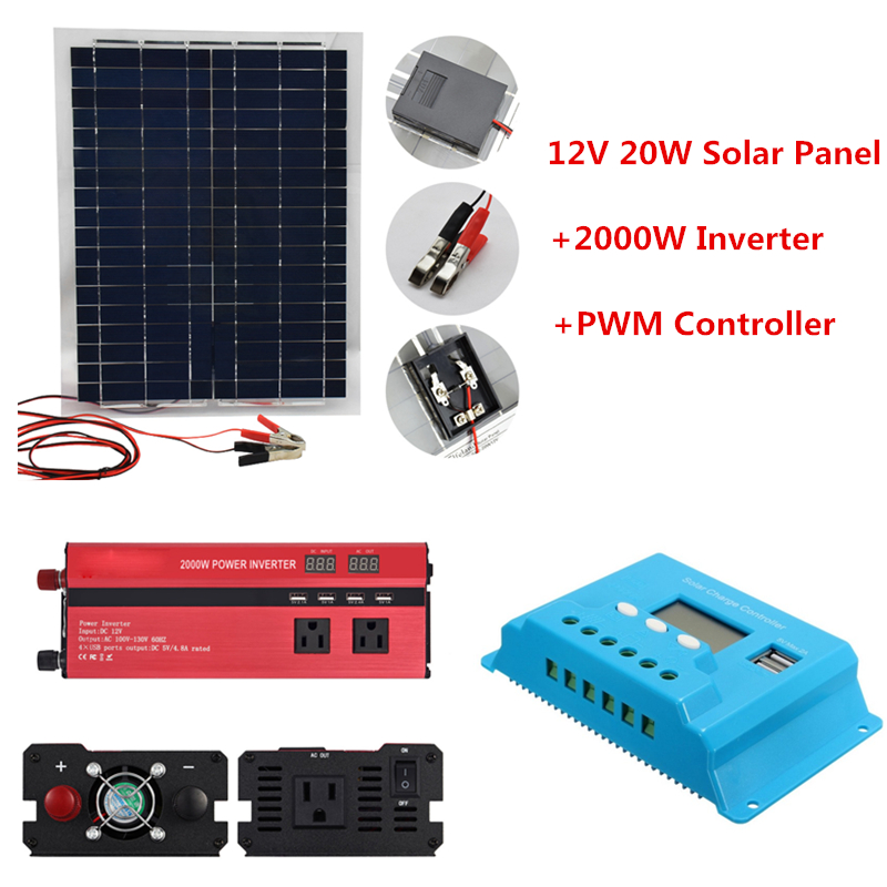 12V 20W Solar Panels with 2000W Car Inverter 12V 24V to 220V 110V and 10A 20A 30A PWM Solar Controller Solar System Kit12V 20W Solar Panels with 2000W Car Inverter 12V 24V to 220V 110V and 10A 20A 30A PWM Solar Controller Solar System Kit