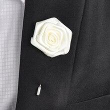 5 Pçs/lote Moda Melhor Homem Do Noivo Boutonniere 21 Cores Da Fita de Rosa da Festa de Casamento do baile de Finalistas Dos Homens Terno de Botão Pin Broche Broche de Flor