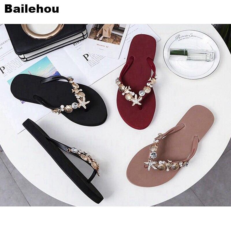 Bailehou Flat Sandals Shoe Flip-Flops Slides Beach-Slippers Rhinestone Crystal Women