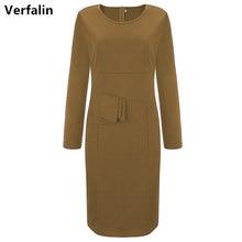 Verfalin 2017 Hot Long Sleeve Women Office Bodycon Patry Dresses Suit Plus Size Vestidos Girls Stretch Business 6 Colors Dresses