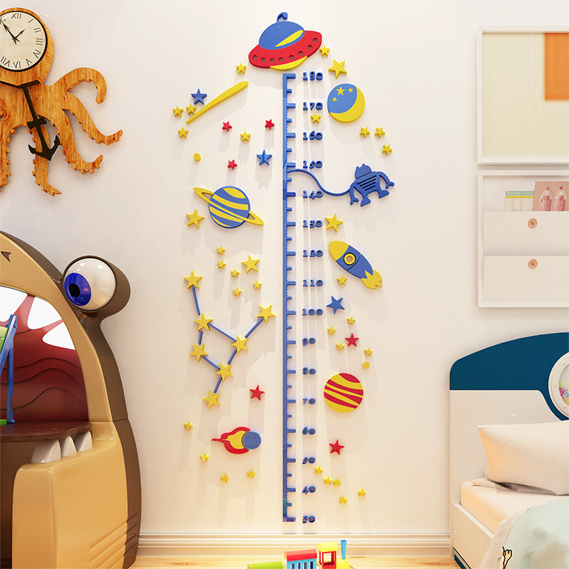 Calculate Wallpaper For One Wall: UFO Rocket Height Sticker 3D Stereo Sticker For Kids Room