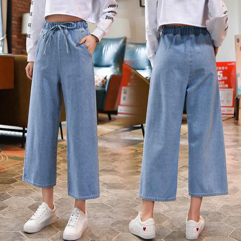 Модные штаны большого размера женский 2018 сезон: весна-лето хлопковые джинсы повседневное широкие брюки для похудения Жан мотобрюки для женщин