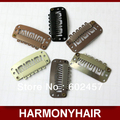 (1000pcs/bag ) Free shipping 3.2cm 6 teeth Stainless steel snap clips for hair extensions with 6 different colors