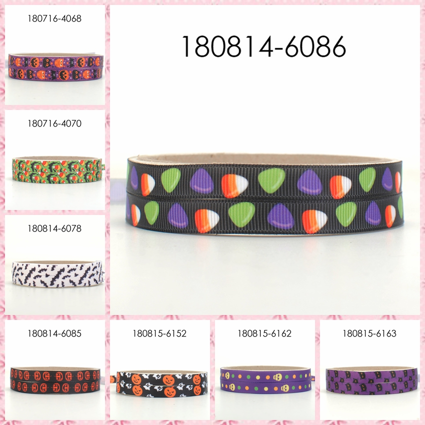 free shipping <font><b>50</b></font> yards 3/8' 9mm Halloween ribbon pattern printed grosgrain ribbons image