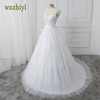 New Arrival Lace Applique A Line Wedding Dresses 2016 V NECK Vestido De Noiva Sereia Robe
