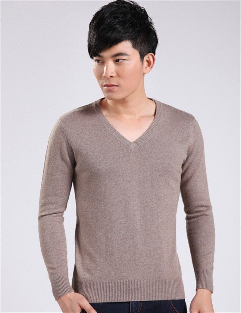 Nouveau 2015 hommes décontracté cachemire chandail hiver v-cou affaires tricoté pull mode mâle 7 couleurs solides tricots pulls