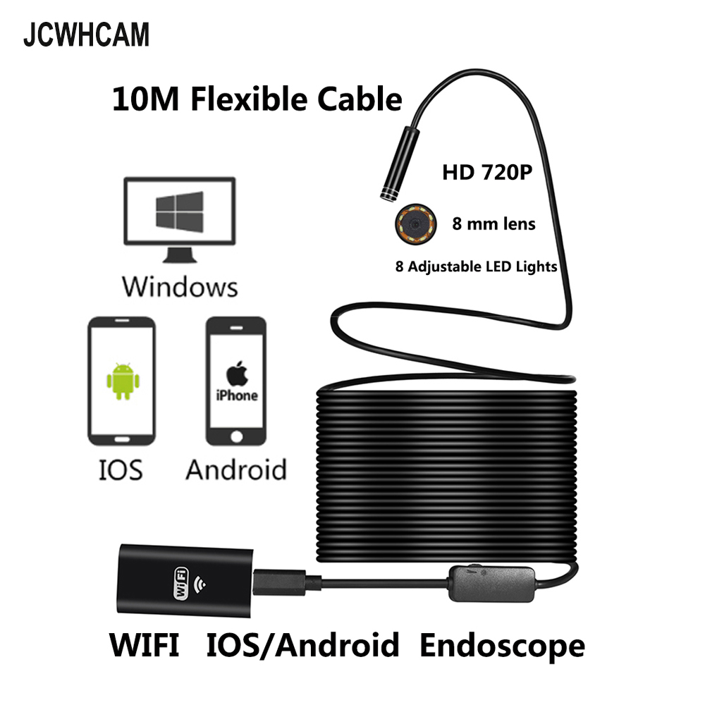 JCWHCAM 10M Wifi Endoscope Android Camera Borescope Snake Tube 720P Waterproof Car Inspection for Iphone Endoscope Camera gakaki 1m wireless wifi endoscope android camera borescope snake tube 720p waterproof car inspection for iphone endoscope camera