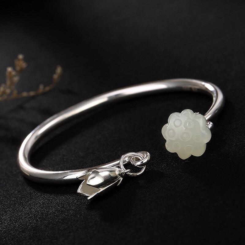 Gemstone Natural Sterling Silver 925 Bracelets For Women Lotus Flower Engraved Natural Jade Gemstone Smooth Opening