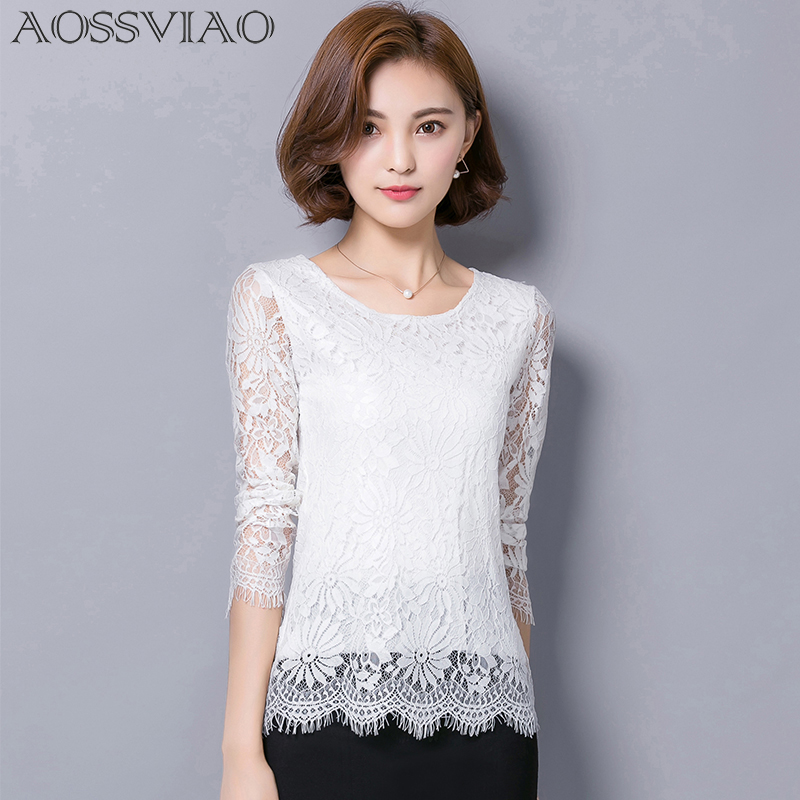 Shirt Women Clothing Lace Tops 2018 New Long-sleeved Lace Blusas Elegance Fashion Slim Blouses Gray BLACK WHITE PINK RED SHIRT