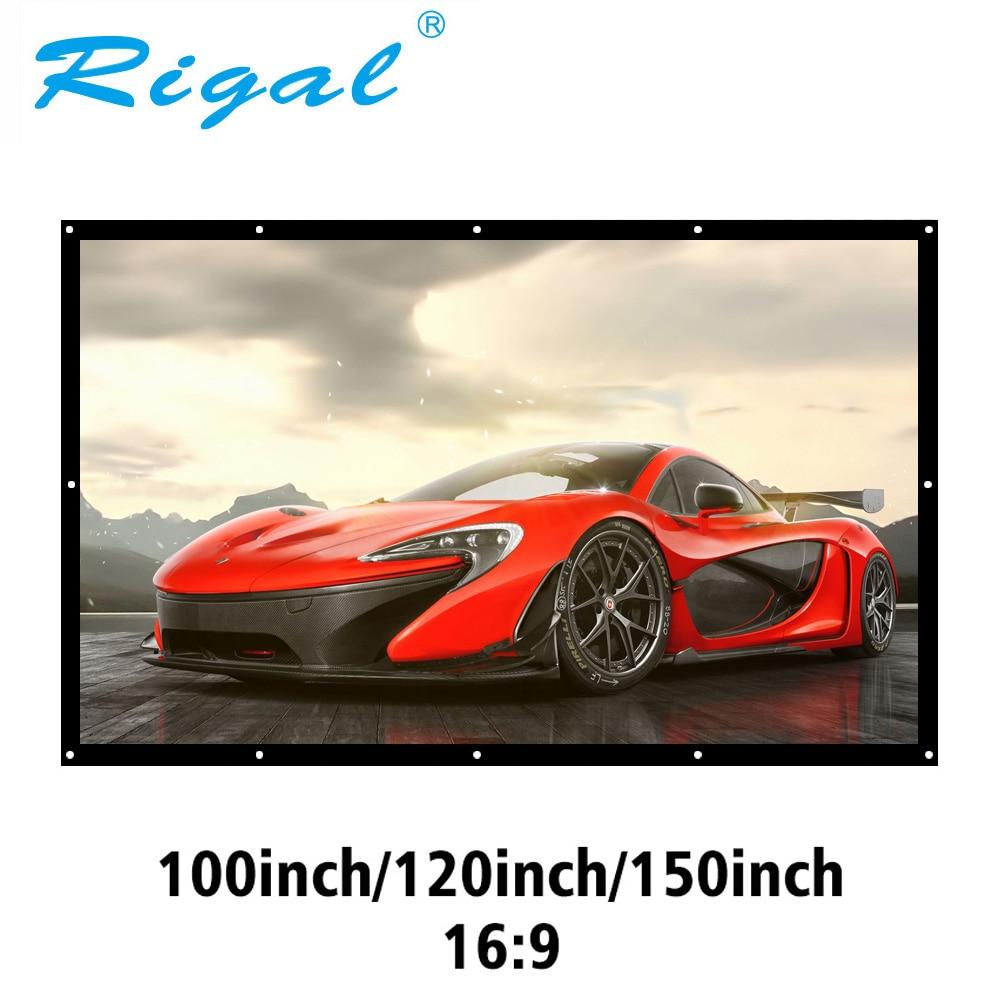 Pantalla de proyección portátil Rigal 100 120 150 pulgadas 3D HD pantalla de proyector montada en la pared lienzo 16:9 pantalla blanca película de cine en casa Toalla de piel auténtica, piel de oveja natural, pantalla de limpieza de alta gama, absorbente de piel de oveja para coche