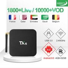 цена на IPTV France Italian TX6 IP TV Box 1 Year QHDTV IPTV Code 4G 32G Android 9.0 TV Box Belgium Qatar French Arabic IPTV Subscription