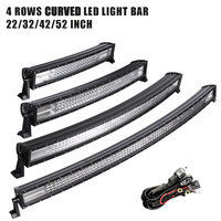 22 32 42 52 inch LED Light Bar Curved LED Bar Work Light 4 Rows for Offroad Truck 4x4 4WD ATV SUV 12V 24V Actual Power