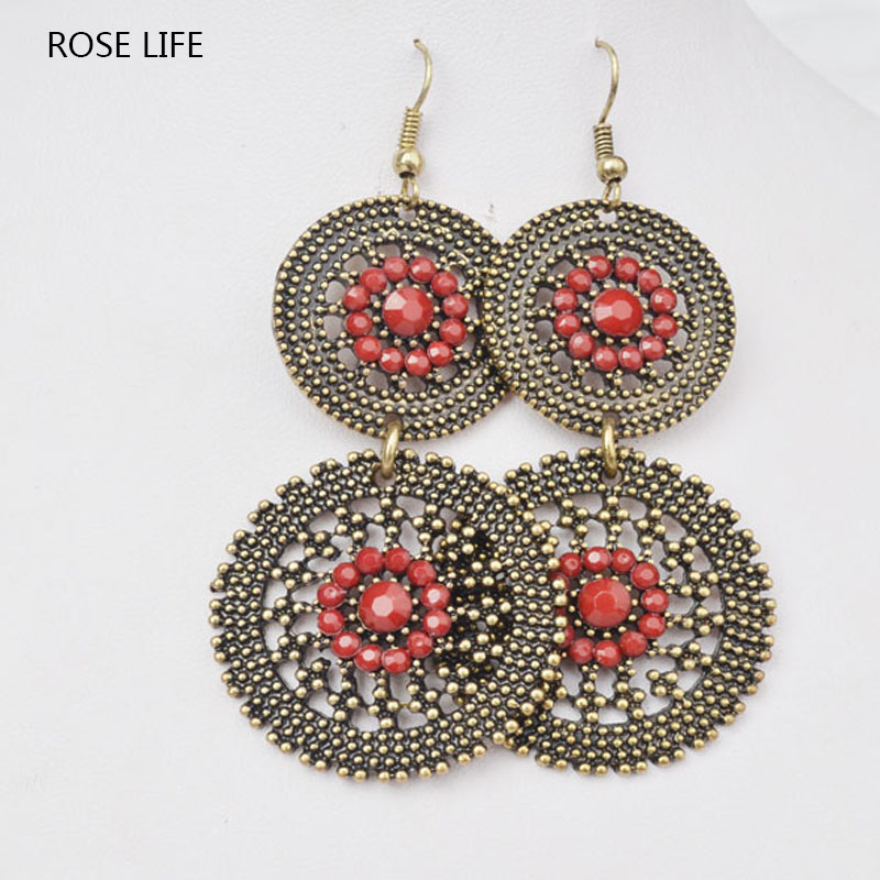 ROSE LIFE 2017 New Hot Round Knocking Type Alloy Red Earrings Jewlery For Women Jewlery Costume Female Jewelery Earrings Brincos
