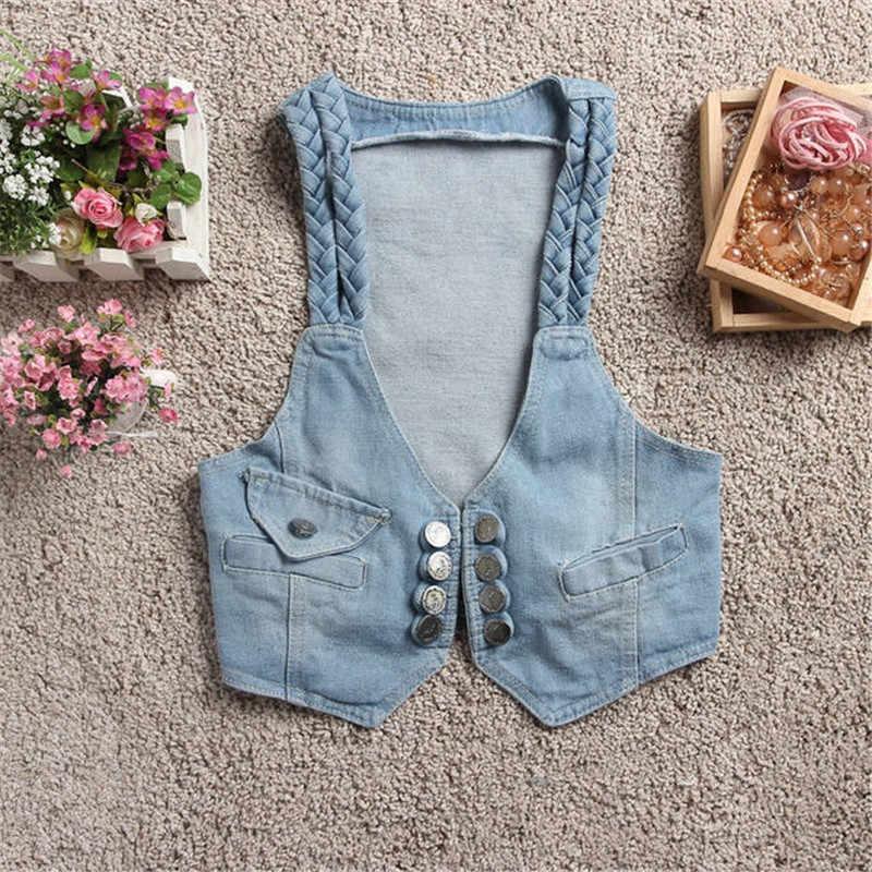 2019 Летняя короткая куртка джинсовый жилет элегантные повседневные топы без рукавов женский кардиган жилеты короткие джинсовые куртки верхняя одежда 473