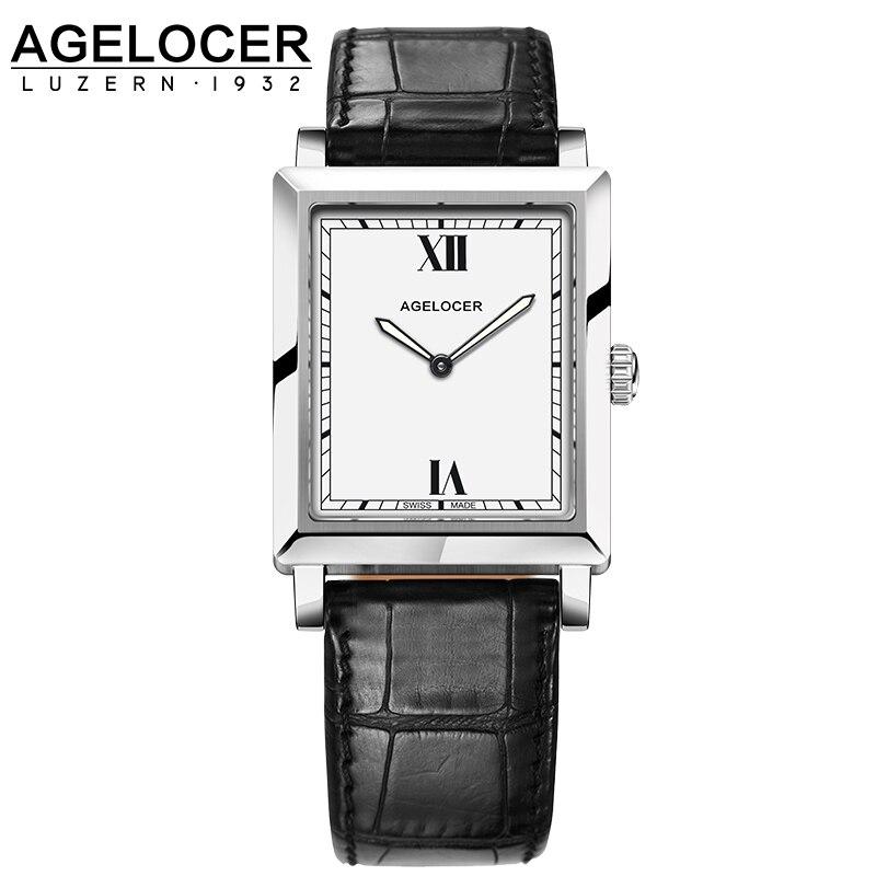 Agelocer Luxury Watches Leather Belt Quartz-watch Waterproof Analog Clock Ladies Watch Square Luminous Women Watches luxury aluminum watch