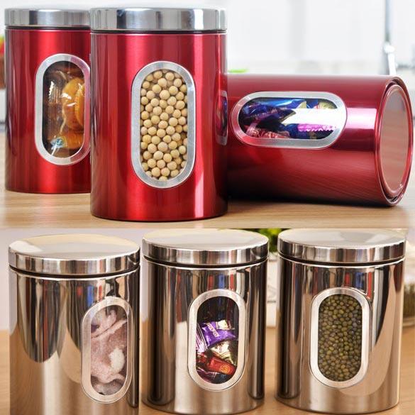 2018 Hight Quality 3pcs Stainless Steel Window Canister Tea Coffee Sugar Nuts Jar Storage Set Fg