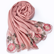 Winter Embroidery Wool Scarf Women Luxury 2019 Warm Shawls and Wraps for Ladies Pashmina Bride Bridesmaid 100% Pure Scarves
