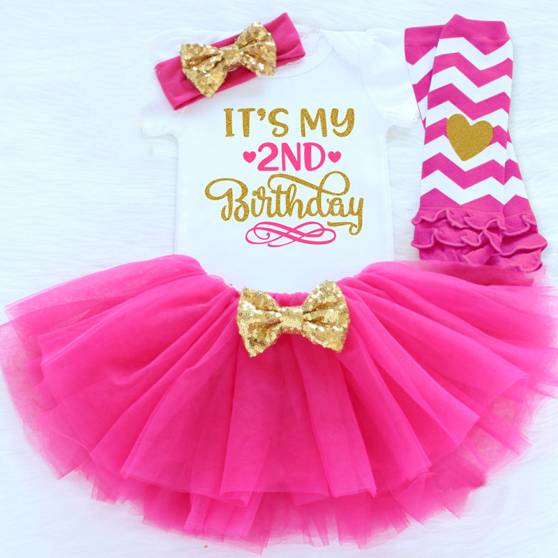 Its My Second Birthday Baby Girl Outfit Gold Dress for Girls Baptism Christening Infant Tutu Toddler 24 Months Toddler Vestido
