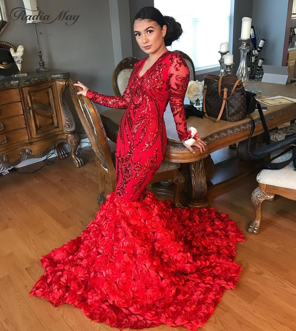 2019 Sparkly Sequin Red Mermaid 3D Floral Train Prom Dresses Long Sleeves Sexy V Neck Plus