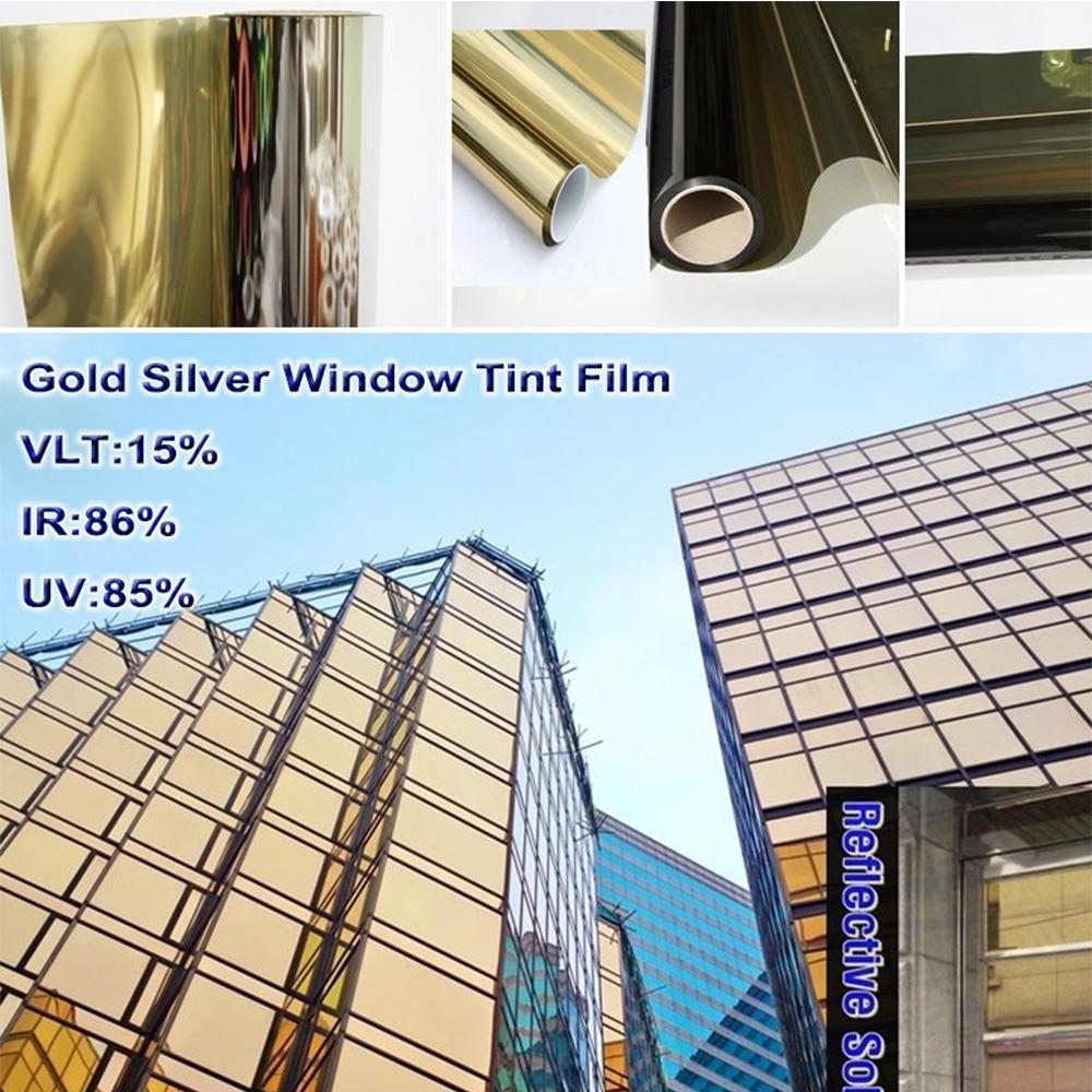 1,52x30 М оптовая золото и серебро зеркало отражающей строительство дома коммерческих окно оттенок пленки теплоизоляция Солнечный Оттенок 60''