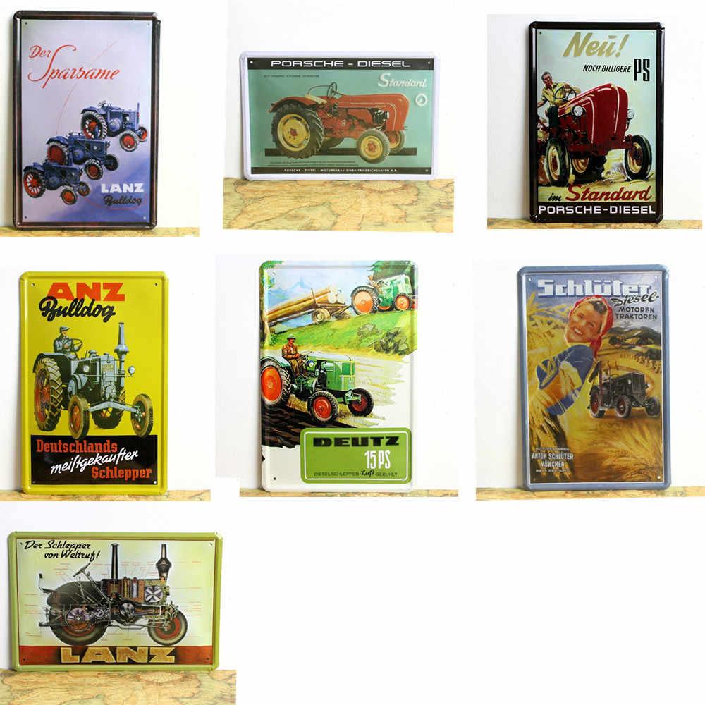 Lanz Traktor Vintage Metal Boyama Teneke Isaretleri Shabby Chic