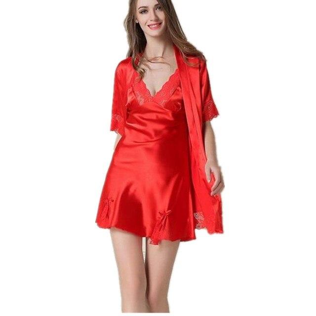 2017 Summer Sexy Silk Robe & Nightgown Lace Nightdress Suits Women 's Evening Dress Skirt 2 piece Women' s Home Clothing