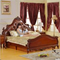 modern American solid wood bed Fashion bedroom set furniture d1410
