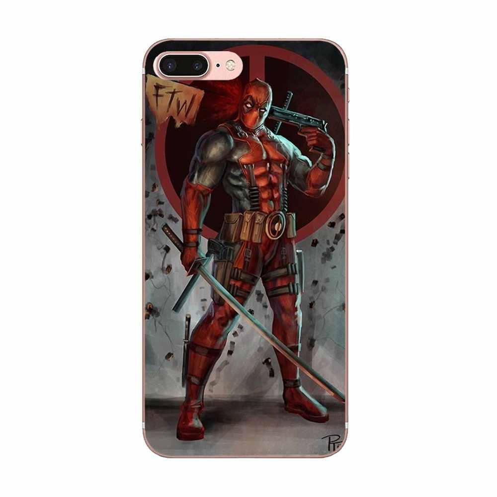 Dla Apple iPhone 4 4S 5 5C 5S SE 6 6 S 7 8 Plus X XS Max XR miękkie silikonowe TPU przezroczysty Capa Case Marvel Hero Deadpool