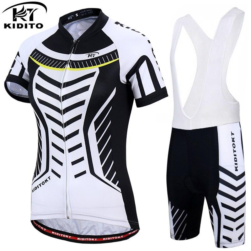 Kiditokt Куини Для женщин 2018 Mountain Vélo Наборы Лето 100% полиэстер MTB велосипеда рубашка велосипедов Одежда Велосипедная форма