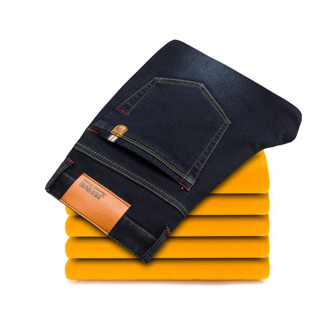 2016 nuevo de alta calidad de revestimiento de lana de Cintura Elástica pantalones vaqueros ocasionales de los hombres, 100% algodón pantalones delgados de talla grande 29-38