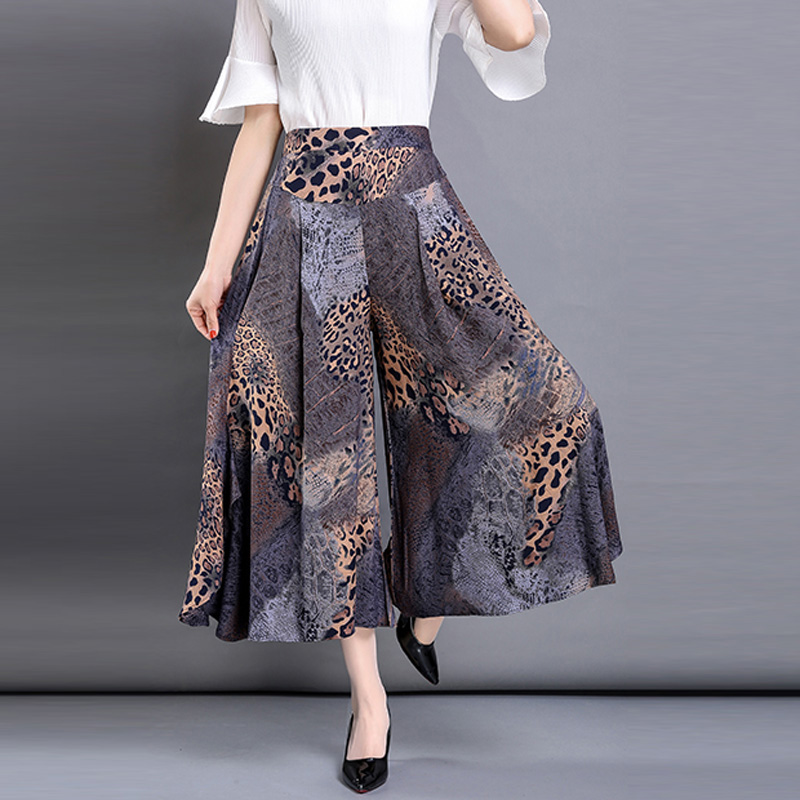 2019 Summer Elastic High Waist   Wide     Leg     Pants   Women Print Skirt   Pants   Large Size Loose Casual   Pants   Cotton Silk Female   Pants