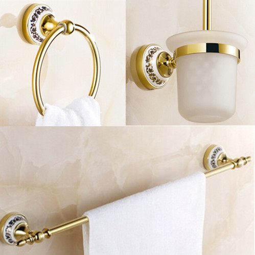 Luxury bath accessory set 3 pecs Golden Bathroom accessories towel ring+toilet brush holder+single Towel Bar fully copper bathroom towel ring holder silver