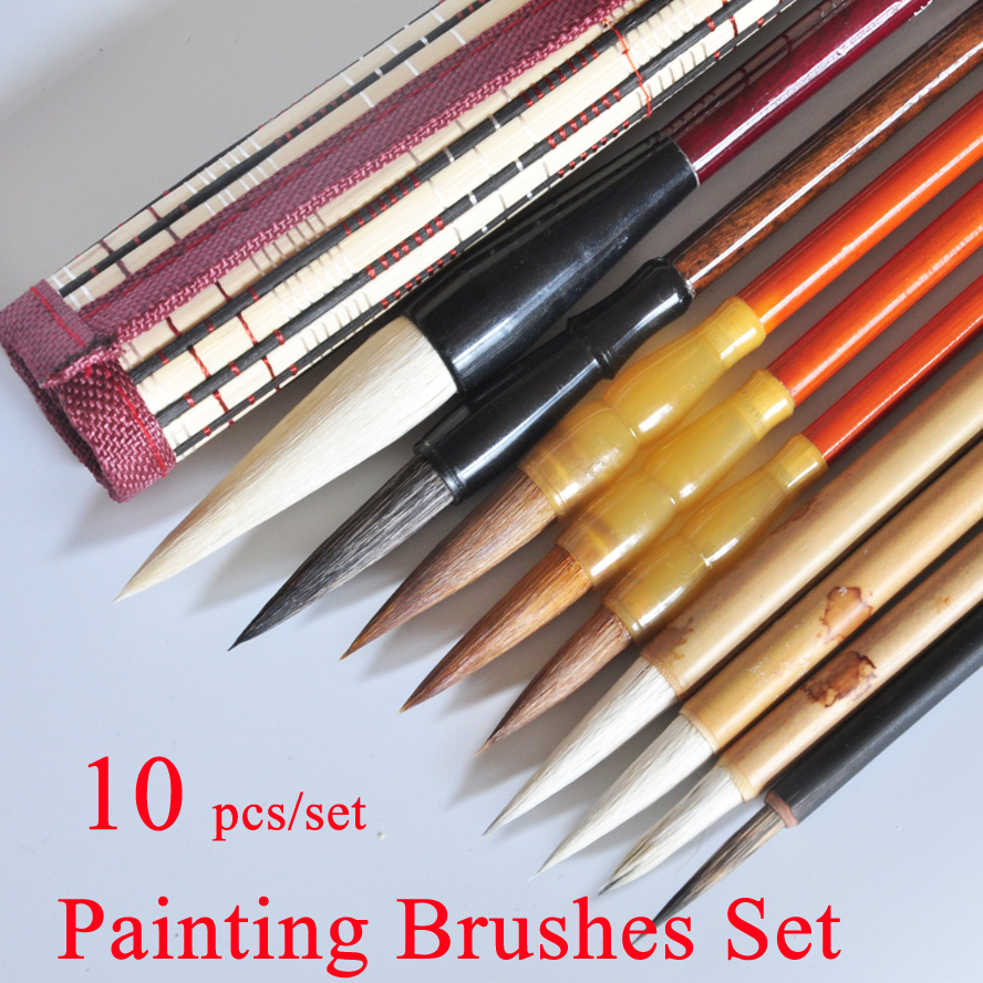 10 pcs/set Chinese Painting brushes Pen Set Painting Supplies Watercolor Brush Stationary with pen cuttain10 pcs/set Chinese Painting brushes Pen Set Painting Supplies Watercolor Brush Stationary with pen cuttain