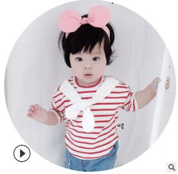 heat 2018 New Spring Fall Baby Toddler Stripe T-Shirt Girls High Quality Tops 0-2 Girls Bow Tie Base Shirts Free Shipping