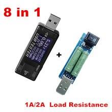 Detector de carga USB 8 en 1, probador de batería de capacidad de corriente de voltaje, amperímetro de potencia móvil, + Resistencia 2A voltímetro, carga 40% de descuento