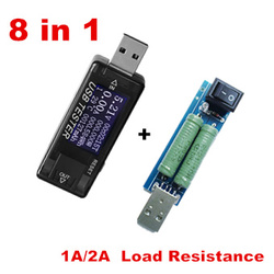 8 in 1 USB Charger Detector Voltage Current capacity Battery Tester Mobile Power ammeter voltmeter + 2A resistance load 40%off