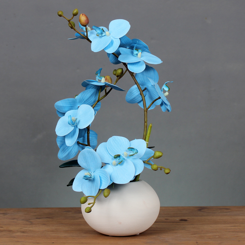 Modern Minimalist Ceramic Vase+Butterfly Orchid Artificial Flowers Crafts Phalaenopsis Decoration Coffee Table Floral Ornament