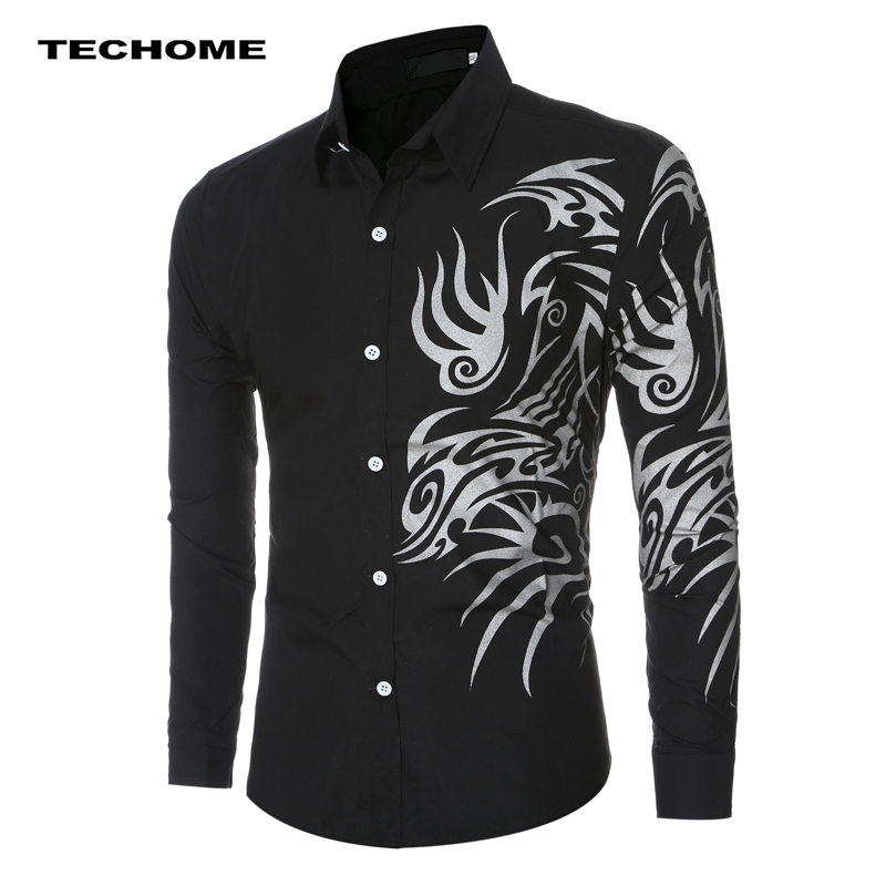 Dynamisch Amerikaanse Europa Mannen Shirt Lente Herfst Beste Kopen Shirt Dragon-patroon Cool Strakke Lange Mouwen Mannen Overhemd Zeven Kleuren Voor Kiezen