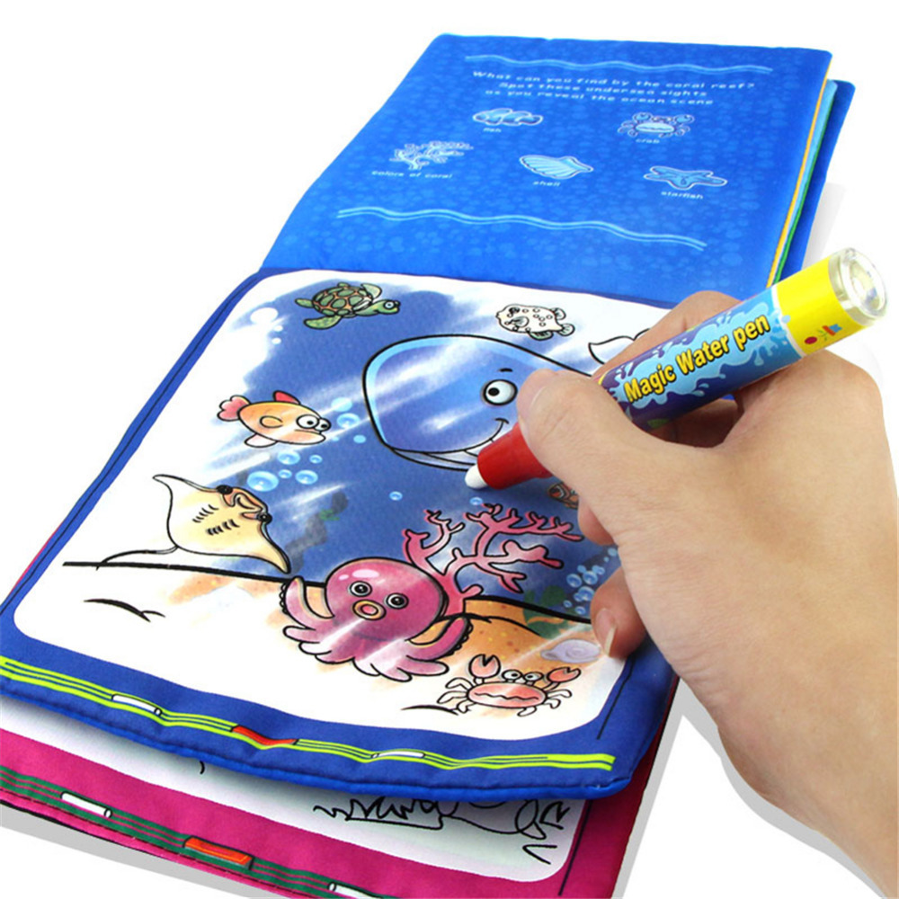 MINOCOOL Kids Educational Magic Water Drawing Book Animal Painting Coloring Cloth Board Children Toy